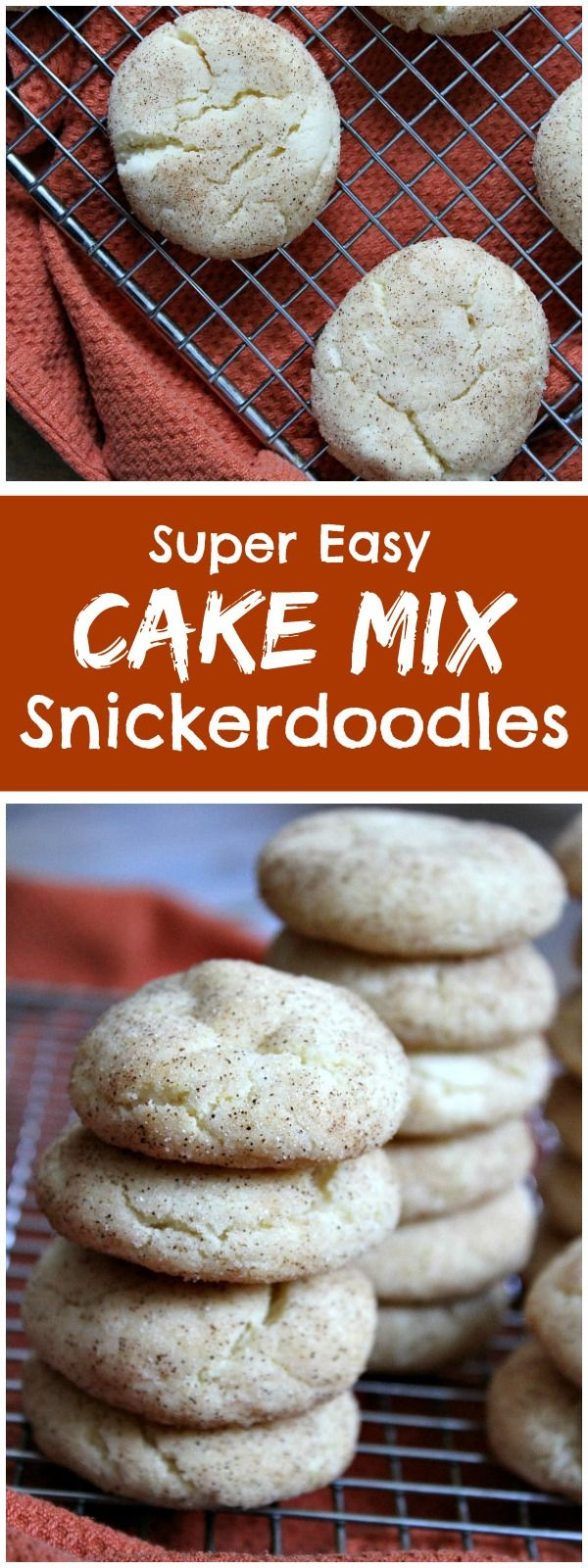 Super easy recipe for Cake Mix Snickerdoodles- it's amazing how easy this recipe is and how much they taste like classic Snickerdoodle Cookies.  These cookies are NOT cakey!