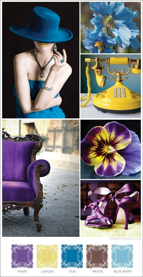 Mood board based on blue poppy, yellow, purple chair. This pallete has some elements--deep purple, sapphire blue, green, champagne, brown?