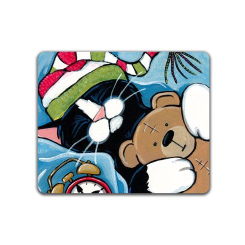 Sleepy Cat with Teddy Mousemat by lisamarierobinson at zippi.co.uk