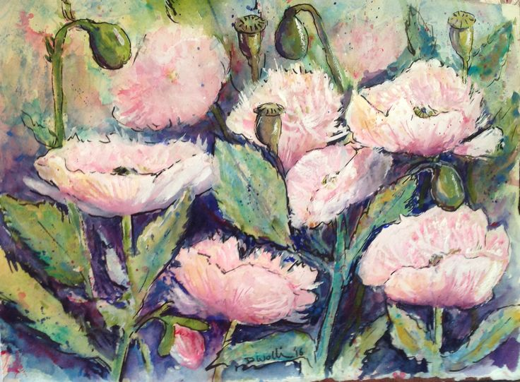 Watercolour and gouache poppies by Donna Wollin