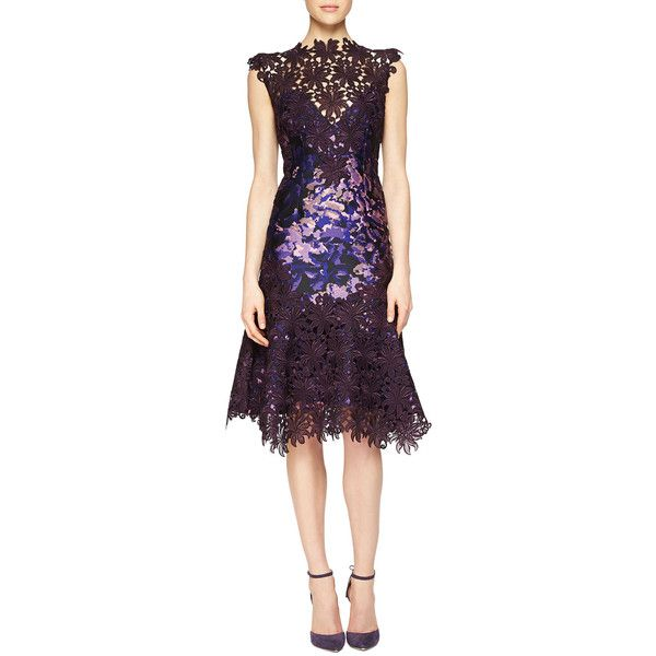 Monique Lhuillier Guipure Lace-Illusion Printed Dress ($3,295) ❤ liked on Polyvore featuring dresses, plum, lace a line dress, lace cocktail dress, plum dress, lace overlay dress and plum lace dress