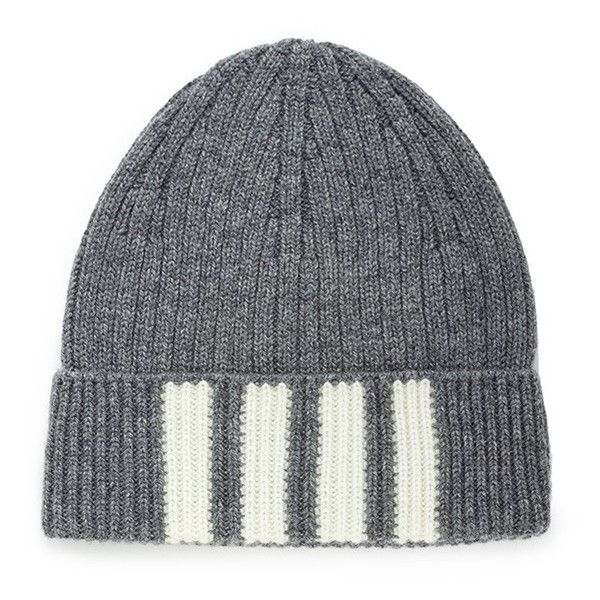 Thom Browne Stripe cashmere beanie ($270) ❤ liked on Polyvore featuring men's fashion, men's accessories, men's hats, grey, mens cashmere hat, mens beanie hats and mens cashmere beanie hat