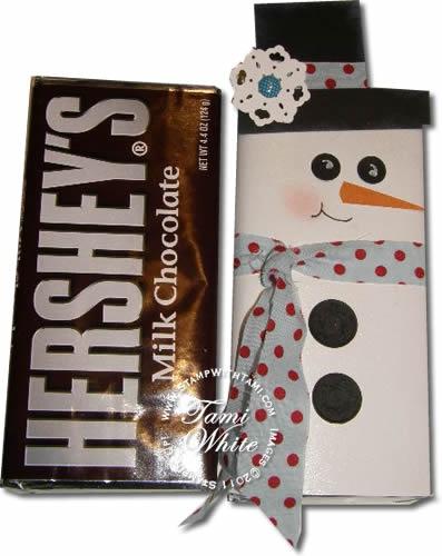 hershey bar snowman: Teacher Gifts, Candy Bars, Christmas Crafts, Videos Tutorials, Stampin Up Candy Bar Holders, Bar Snowman, Bar Wrappers, Christmas Ideas, Hershey Bar