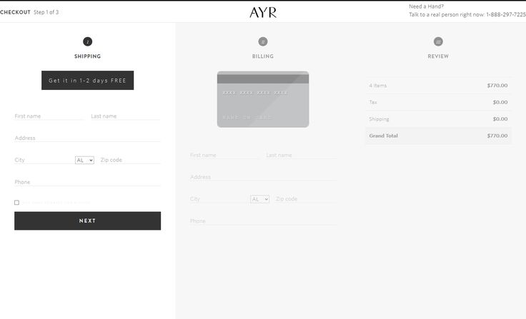 #UI #UX #checkout #cart checkout process www.ayr.com