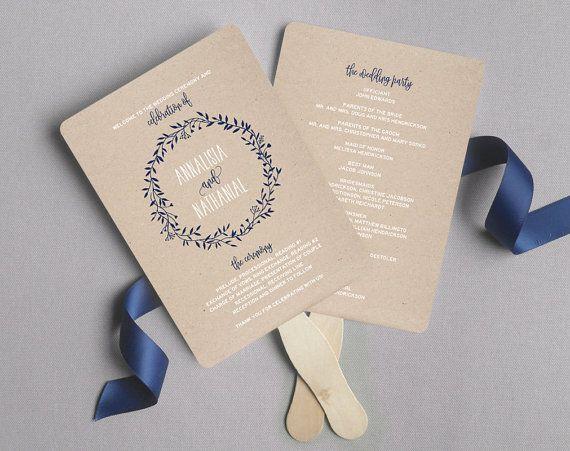 wedding program fan wedding program printable navy wedding programs