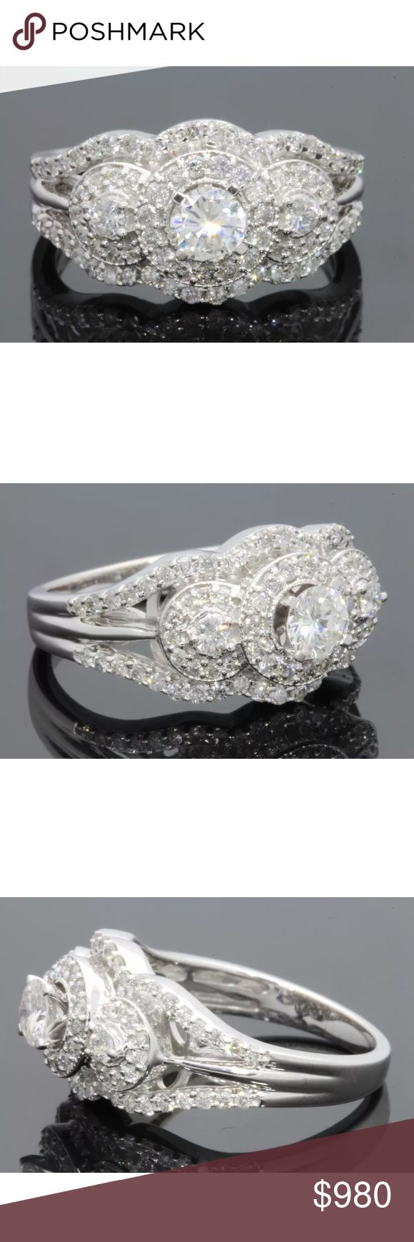 1.20 carat 14k white gold diamond halo style ring 1.20 carat 14k white gold diamond halo style ring. Very nice genuine diamond ring for a fraction of the cost! High quality! Retail $2600 Jewelry Rings