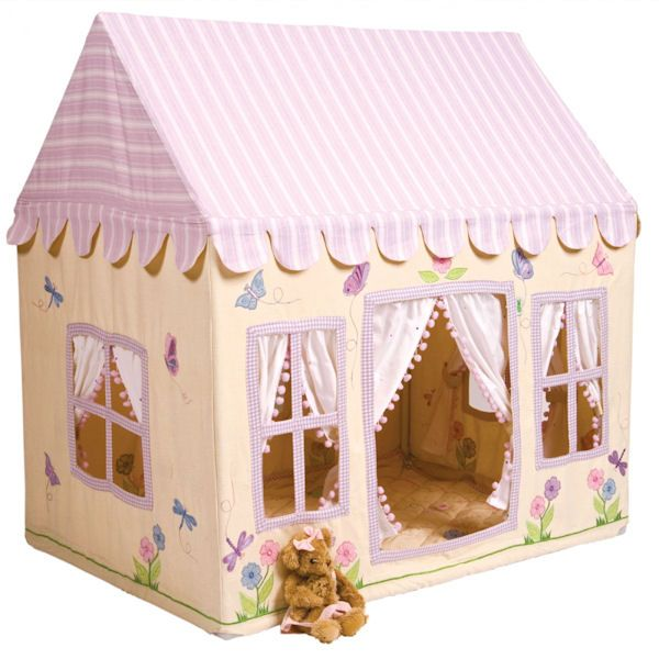 This beautiful Butterfly Cottage Playhouse Tent offers a luxury style for little girls but still has all the intricate detail and classic features you'd expect. A fun child's toy, this play tent is beautifully appliqued and embroidered with little butterflies, dragonflies and flowers it is finished with frilly curtains to the doors and windows (with their own tiebacks). All this is complemented with a lilac and white candy striped roof. Perfect for all those tea parties! Easy to assemble…