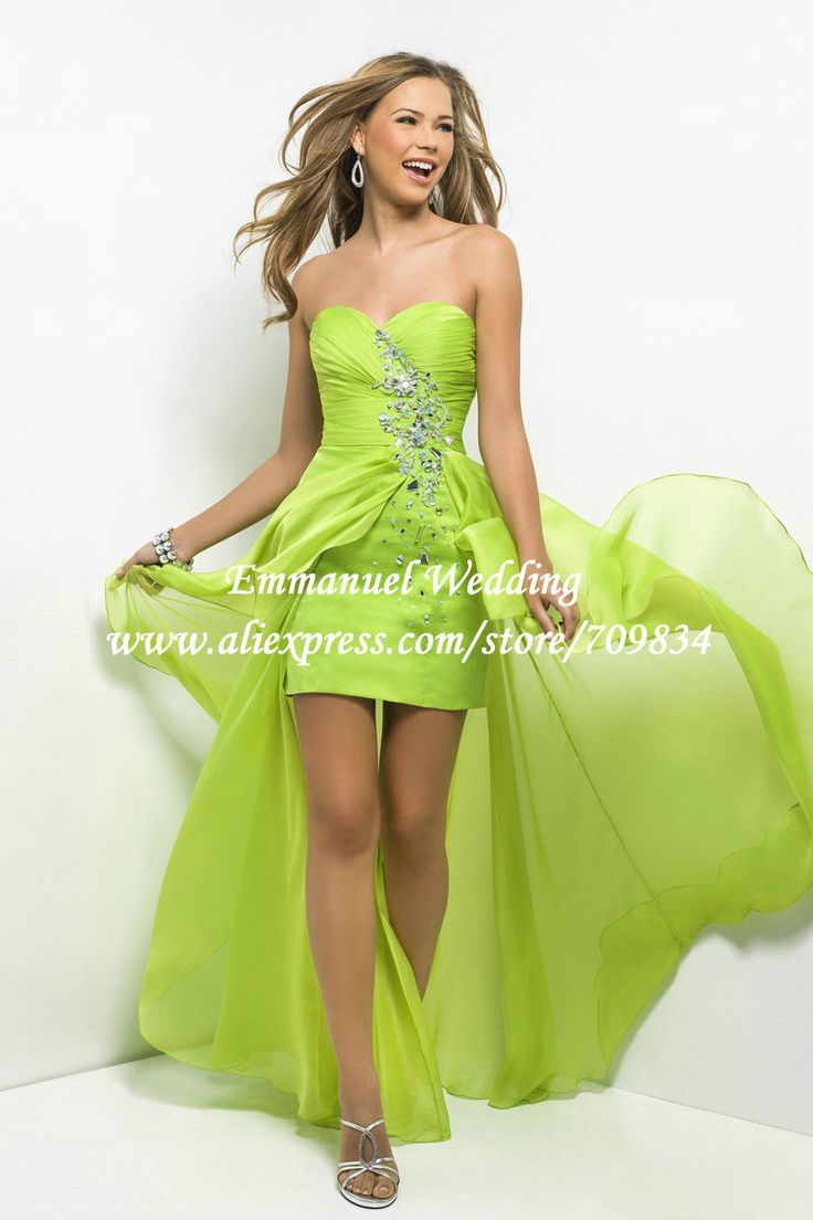 Western Style Beaded Sweetheart Lime Green Chiffon Prom Dress Short Front Long Back AU497 $136.98