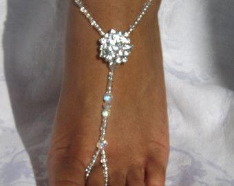 Silver Rhinestone Starfish Foot Jewelry por SubtleExpressions