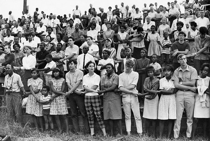 "Radical change is not for the weak-hearted. Why are student protesters of today's campus movements so fearful? Read more about their vulnerability in Todd Gitlin's Op-Ed for NYT. (Photograph of  After a speech by Stokely Carmichael at a 1966 Student Nonviolent Coordinating Committee rally in Farmville, Va., the crowd sang ""We Shall Overcome."")"