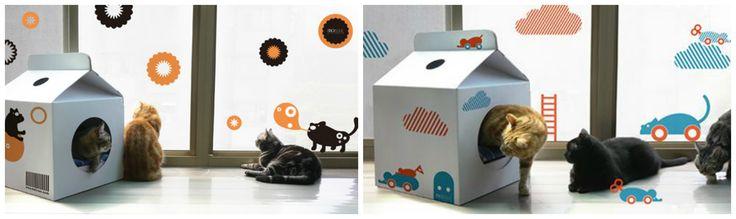 Домик для кошки из коробки. коробка из-под молока