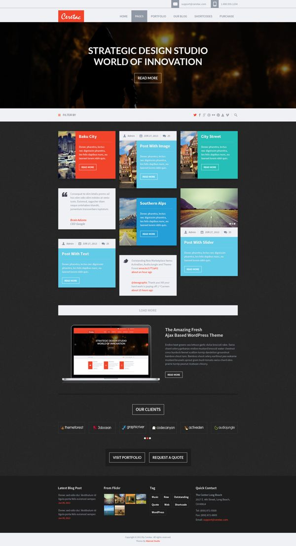 CERETAC Flat Metro Style Portfolio Blog PSD Theme by Jong Hwan, via Behance