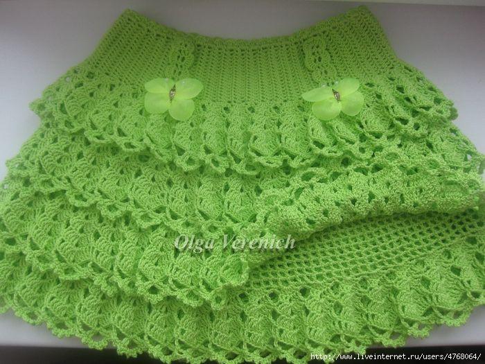 Green Skirt free crochet graph pattern