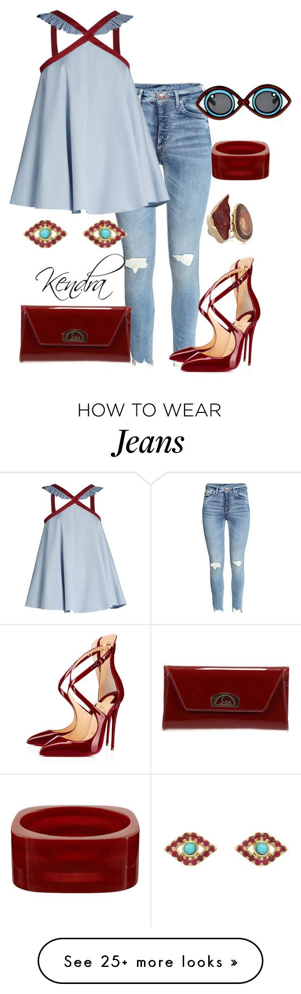 """""""A Little Ruffled"""" by kmariestyles on Polyvore featuring Anna October, Melissa Joy Manning, Christian Louboutin and Sydney Evan"""
