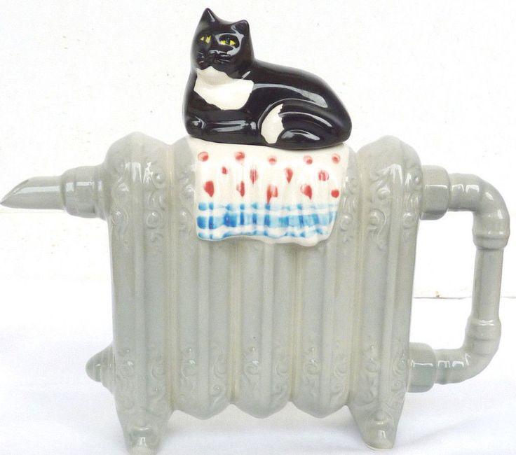 Swineside Cat Tea Pot Ceramics Black Kitty on Radiator England | eBay
