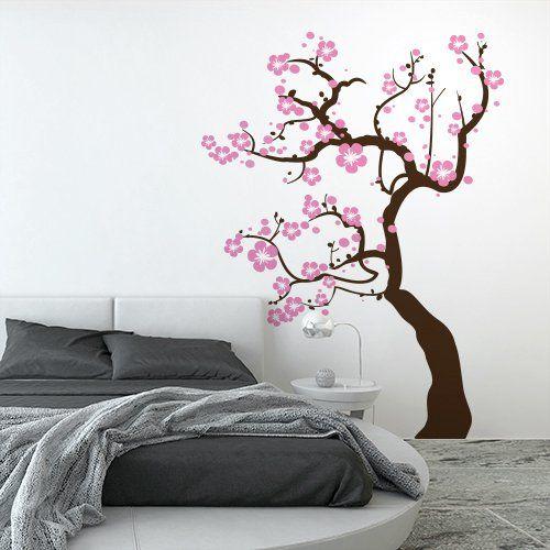 01125-01 Adesivo murale Wall Art Alberi - Ciliegio fiorito - Misure 111x150 cm - marrone e rosa - Decorazione parete, adesivi per muro, carta da parati
