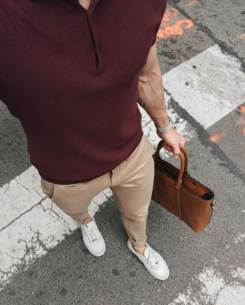 men's maroon shirt and tan pants