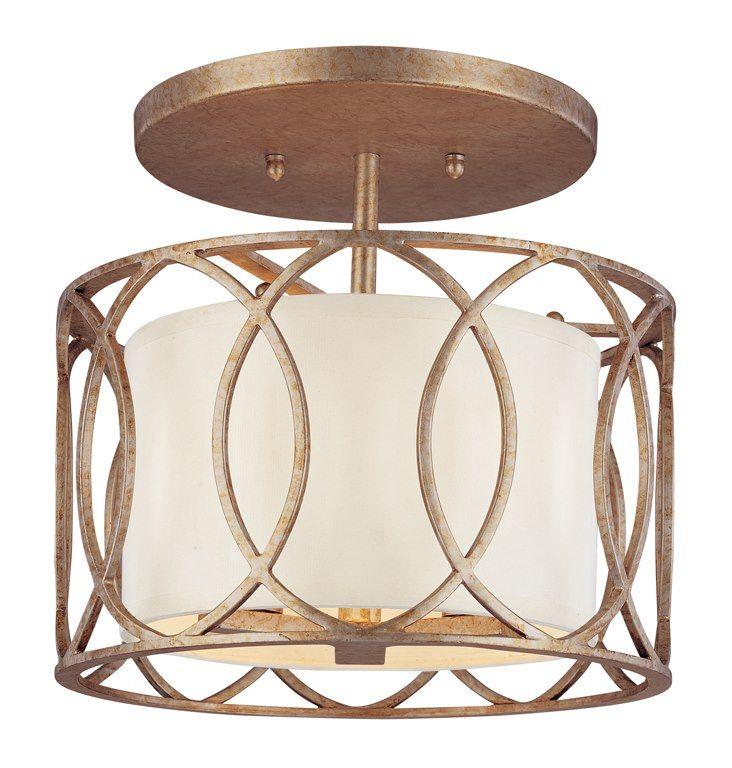 Troy Lighting Sausalito Silver Gold Three-Light Semi-Flush Mount Light