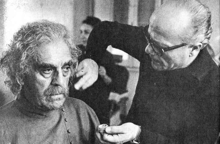 "BTSblacksabbathborisbig.jpg (1200×787) Boris Karloff having his make-up applied on the set of Mario Bava's ""Black Sabbath"""