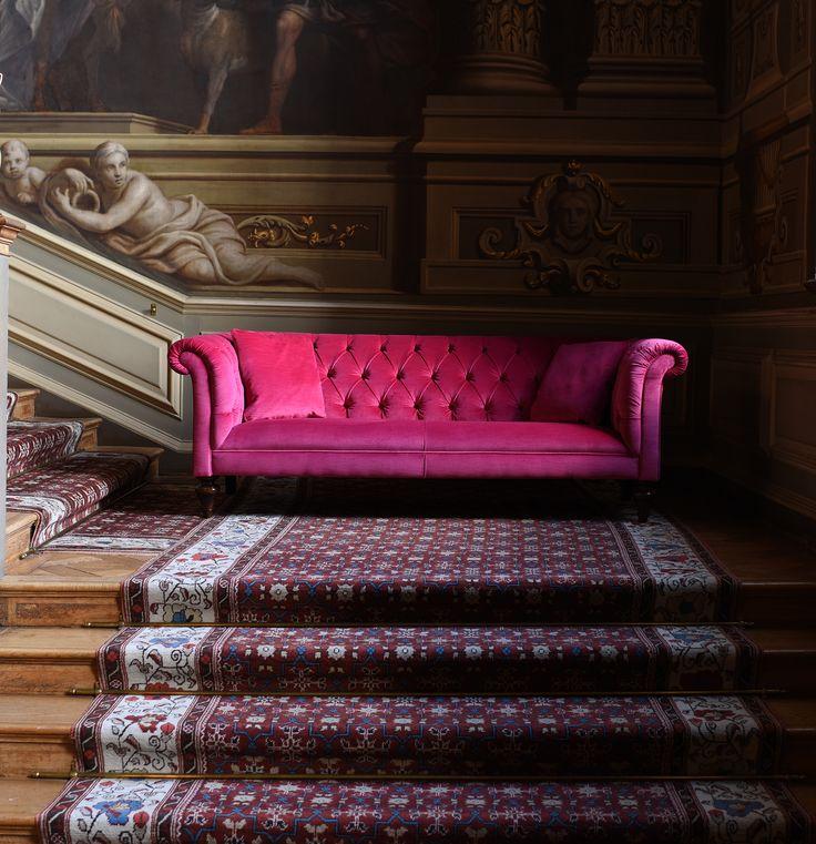 The Camden sofa in Cerise Velvet. A beautiful pink velvet Chesterfield sofa.