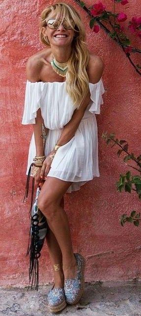 #summer #trending #outfits | Pleated Little White Bardot Dress