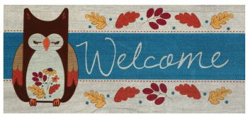 Fall Welcome w/Owl Sassafrass mat 22x10 Use as insert or on its own!