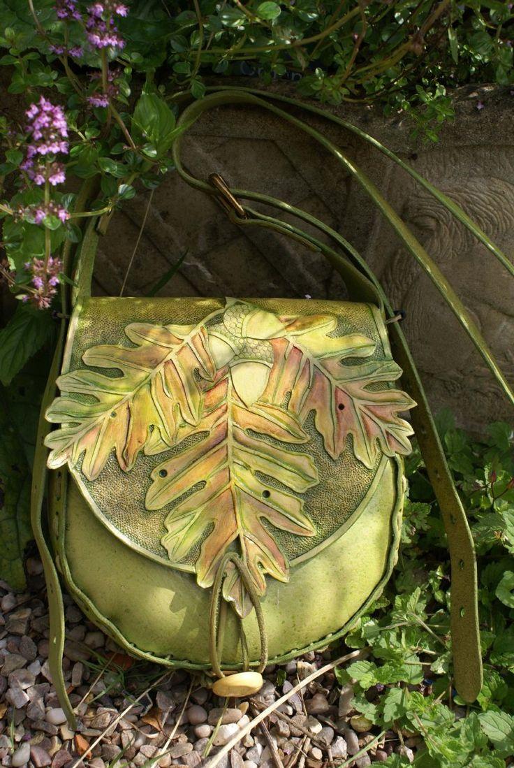 Sky Raven Wolf - hand tooled green oak leaf and acorn bag