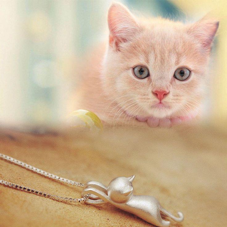 Nova moda feminina  Colar prata esterlina gatos pingentes