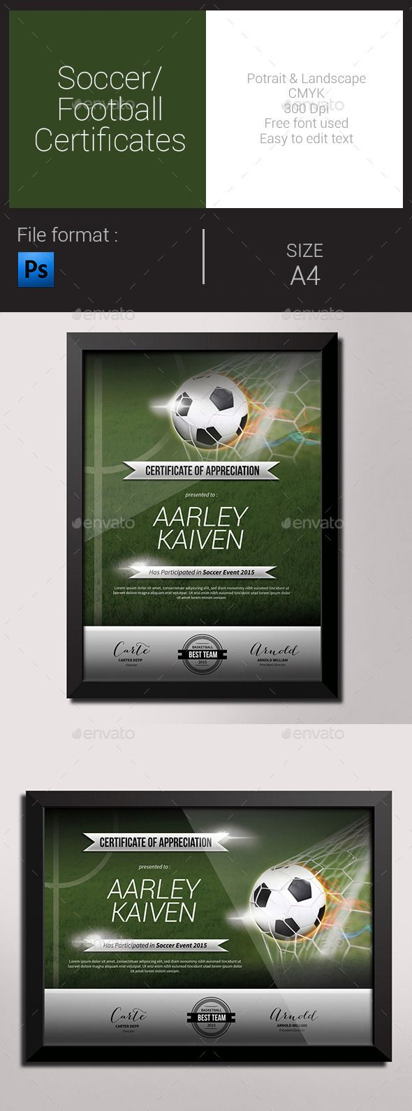 156 best certificate template design images on pinterest fonts soccer football certificates psd template only available here http yelopaper Gallery