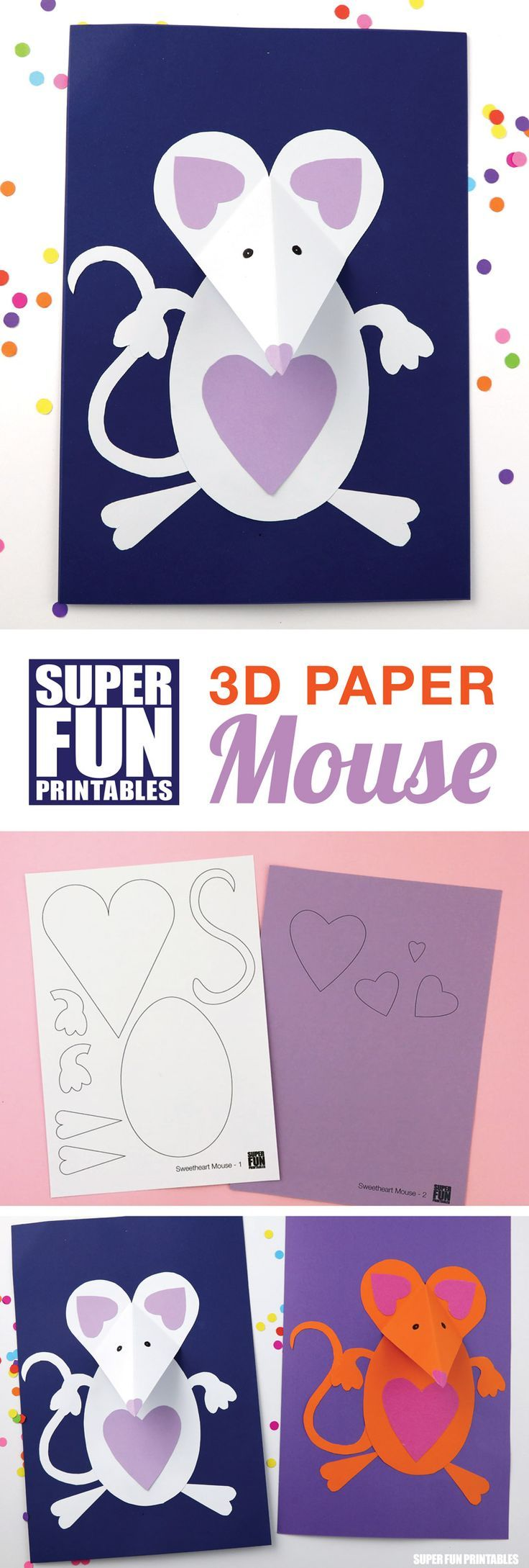 3D Paper Mouse Valentines Day craft for kids with printable template
