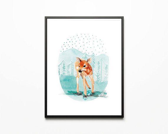 Printable nursery art/ deer/ fawn/ by WatercolorprintByOli on Etsy