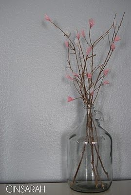DIY Tissue Paper Cherry Blossom Branches in a Glass Juice Jug!