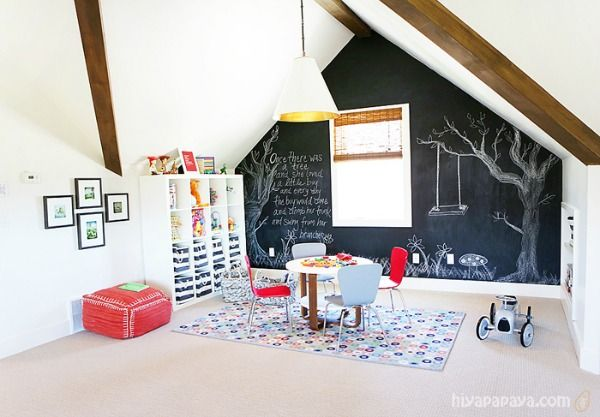 This same wall, at the back of the house (to the right of the ladder), would be perfect for the chalkboard wall.