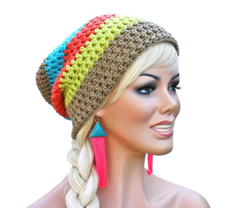 Neon Crochet Slouch Beanie- Ultimate Slacker Striped Beanie Hat- Beige and Neon.