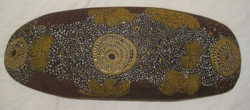 1972 JOHNNY WARANGKULA TJUPURRULA ABORIGINAL PAINTING  Artist: Tjupurrula, Johnny Warangkula  Artwork title: Bush Tucker Dreaming