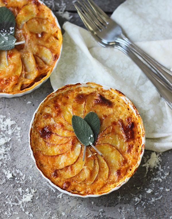 Individual Pumpkin and Potato Gratins with Guyere and Sage ~ Perfect for Thanksgiving!