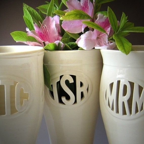 monogramed vase.. NEED. How sweet would it be to receive flowers from a boy in this... and them make him keep re-filling it: Gifts Ideas, Custom Monograms, Bridesmaid Gifts, Ceramics Vase, Monograms Vase, Cool Ideas, Clay Pots, Housewarming Gifts, Wedding Gifts