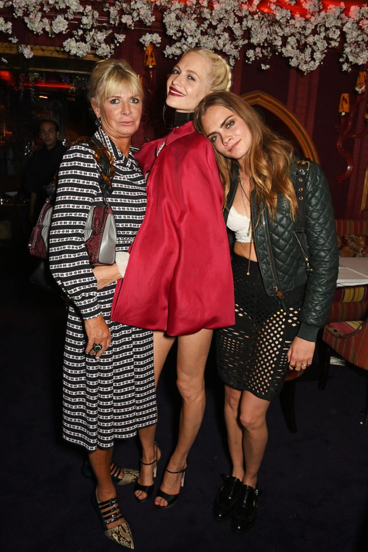All in the family @London FW 9/23/15. Image of Pandora Delevingne, Poppy Delevingne, Cara Delevingne.