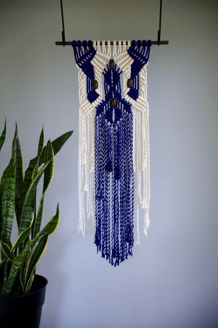 macrame wall hanging natural white cotton hand dyed on macrame wall hanging id=29110