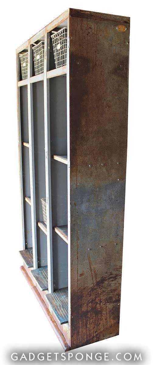 Repurposed Vintage Metal Lockers Bookcase Bookshelf By