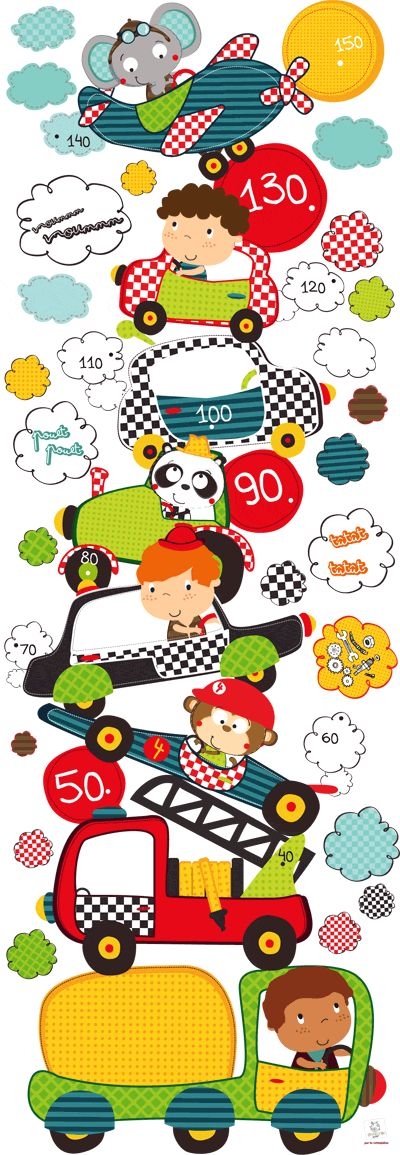 Toise déco enfant et cadres photos Petits bolides - Autocollants muraux par Bérengère design - LES