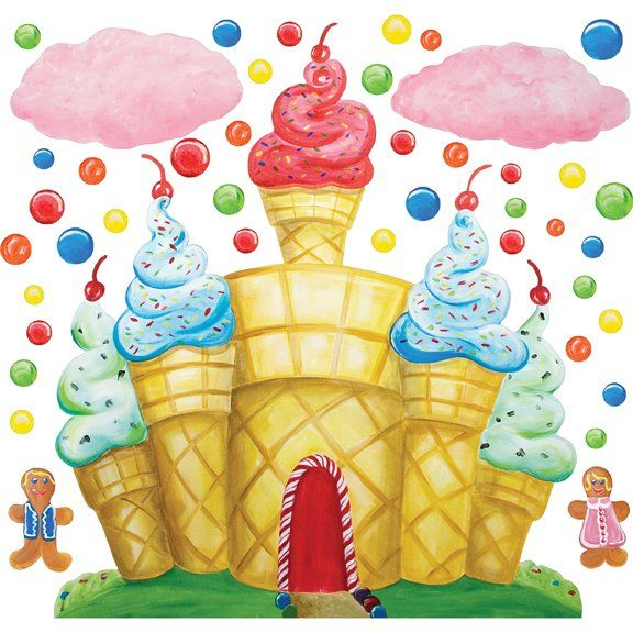 Cotton Candy Land Castle Wall Mural Sticker - Wall Sticker Outlet
