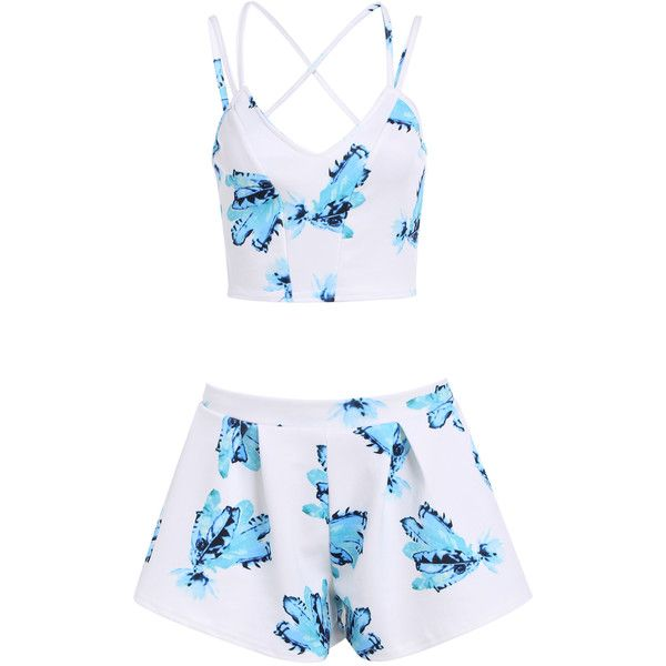 Spaghetti Strap Florals Crop Top With Shorts ($16) ❤ liked on Polyvore featuring dresses, tops, outfits, shorts, white and floral two piece