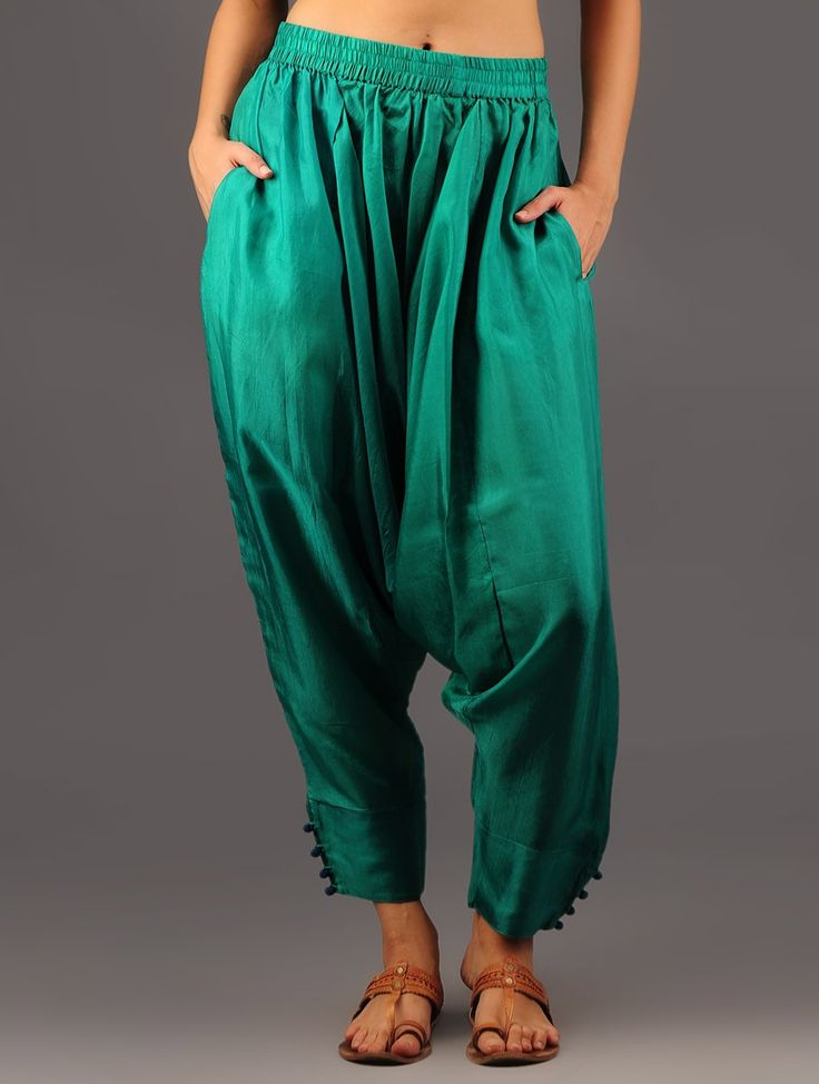 Emerald Buttoned Harem Habutai Silk Pants Monsoon Magic