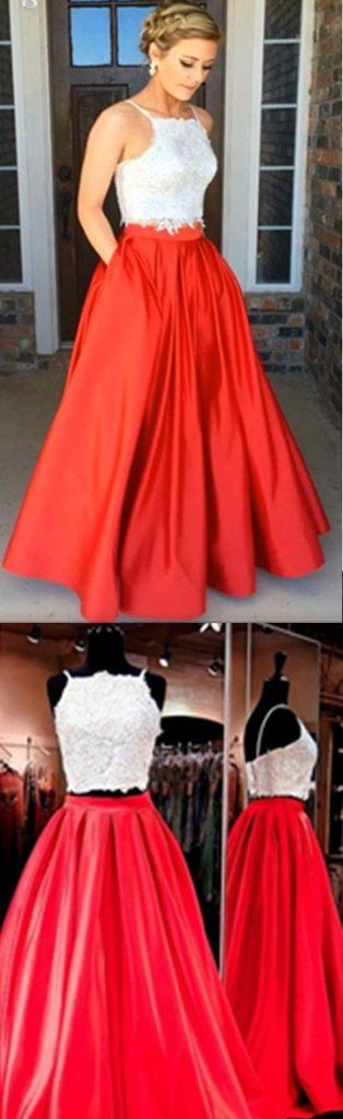 Two-piece Square Neck Red Prom Dresses Evening Dresses, Real Made Prom Dress, Sexy Prom Dress for Teens, Party Dresses