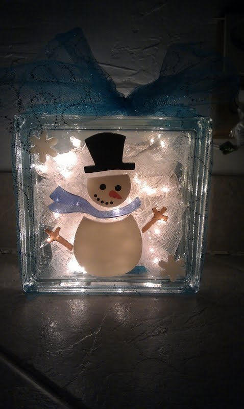 DIY Craft: Snowman Block: Glass block with precut hole, tulle for bow, mini light set, tulle for ...