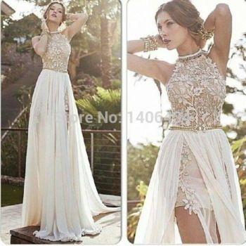 2014 de encaje de alta bajo vestido de fiesta de gasa con cuentas cuello alto vestido de la ocasión especial romántico vestido de fiesta blanco