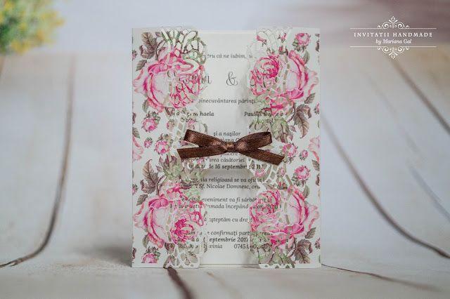 "INVITATII HANDMADE: Invitatie ""Rose Garden"""