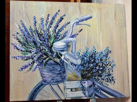 Как нарисовать велосипед с цветами. Картина в стиле Прованс акриловыми красками - YouTube