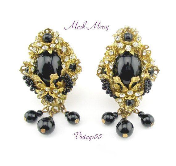 Earrings Black Beaded Filigree Mark Mercy by Vintage55 on Etsy